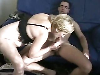 Horny Matures Blonde Lies On The Couch And A Youthfull Stud Fucks Her Honeypot