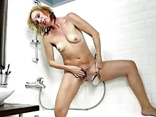 Blonde Mummy Kate S Masturbating Hairy Coochie With Showerhead On Allover30