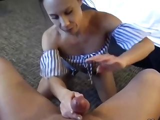 Allie Is Sucking Stiffy While Getting On All Fours On The Floor And Hoping A Good Fuck, From Behind