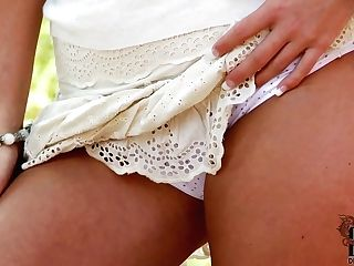 Charming Blonde Sandra Hill In Brief Miniskirt Flashes Her Milky