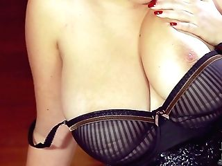 Saucy Blonde Lady Sara Willis Clad In Black Goes Stripped To The Waist