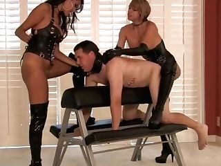 Two Hot Blonde Mistresses Strap On Dildo  Briana