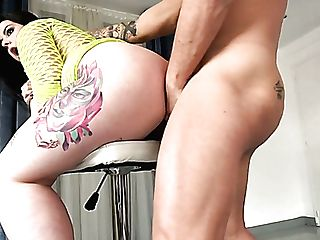 Hot Tattooed Spanish Sexpot Maria Bose Is Antsy To Rail Fat Strong Man Meat