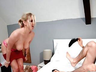 Large-jugged Mom Pounding Teenage Boy In Sofa