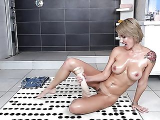 Alluring Blonde Stunner Ellen Milion Gets Oiled A Bit And She Is Ready For Hot Solo