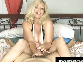 Huge-boobed Blonde Mummy Charlee Chase Strokes Your Hard-on In Couch!