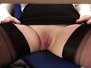 Office Mega-bitch Lucy Gresty Spreads Gams Broad Open And Shows Off Her Beaver Upskirt