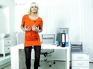 Blonde Office Lady, Roxana Is Often Masturbating While At Work, Because It Senses Finer Than At Home