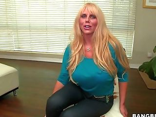 Middle Elder Blonde Karen Fisher With Enormously Big Globes Poses