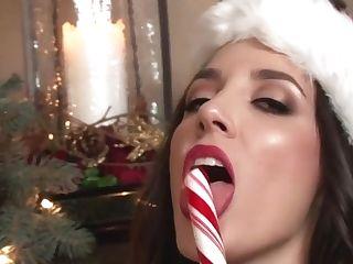 Big-boobed Jingle Baps Rock! Jelena Jensen Candy Canes Cunt!