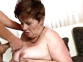 Granny Senses Cousin's Massive Dong Fucking Her Pubic Hair Right