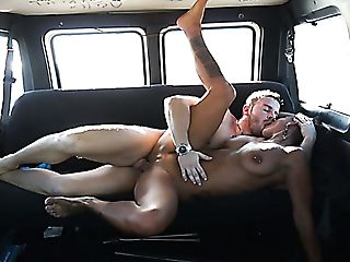 Horny Dark-haired Dish Coral Joice Gets Her Cooter Rammed On The Backseat
