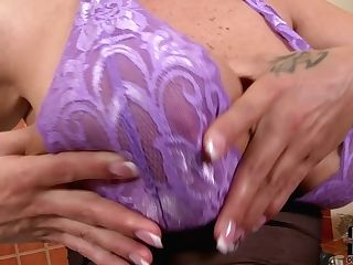 Sheila Grant Wears Lace Violet Brassiere And See Thru Black