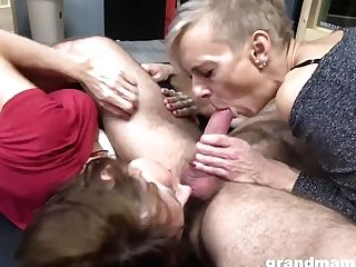 Two Old Grannies Like Threesome Orgy - Gilf Fucky-fucky With Jizz Shot
