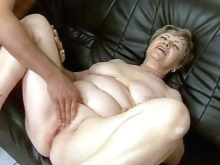 Fat Brief Haired Brown-haired Granny With Stringing Up Tits Rails On