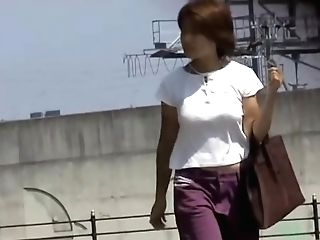 Hot Asian Mummy Gets A Nasty Mini-skirt Sharking On A Sunny Day.