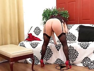 Amanda Ryder Is A Huge-boobed Brown-haired In Erotic, Black Stockings Who Likes To Have Fun With Bang-out Fucktoys