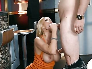 Blonde Tramp Mike Mancini With Large Knockers Knows No Boundaries When It Comes To Fucking With Horny Stud