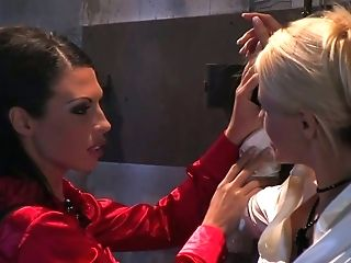 Hawt Mistress Is Mauling Hussy Looking Chained Blonde