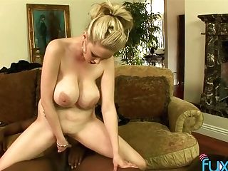 Tantalizing Big Boobies Of Nasty Blonde Bounce Like Crazy During Hot Interracial Hookup