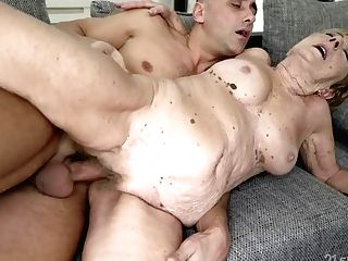 Old And Youthful Orgy With Gross Grandmother - Gilf Gets Money-shot